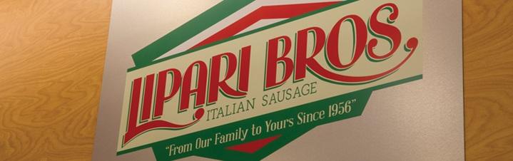 Photo of Lipari Bros. Italian Sausage sign.